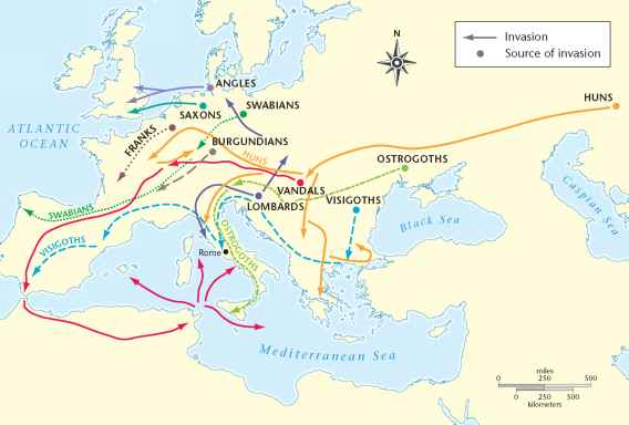 Map Western Europe 4th Century