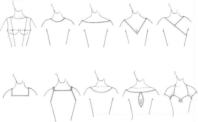 Neckline Drawing : Finishings and trimmings figure drawing martel fashion