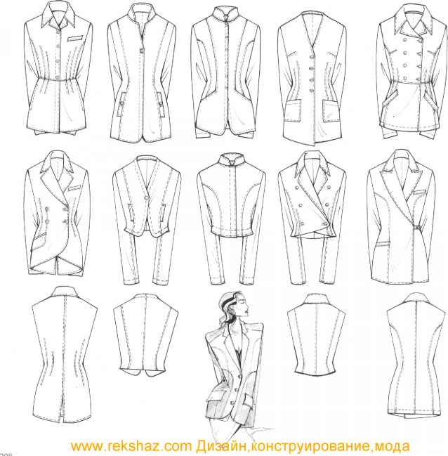 Lapel Jacket Technical Sketch