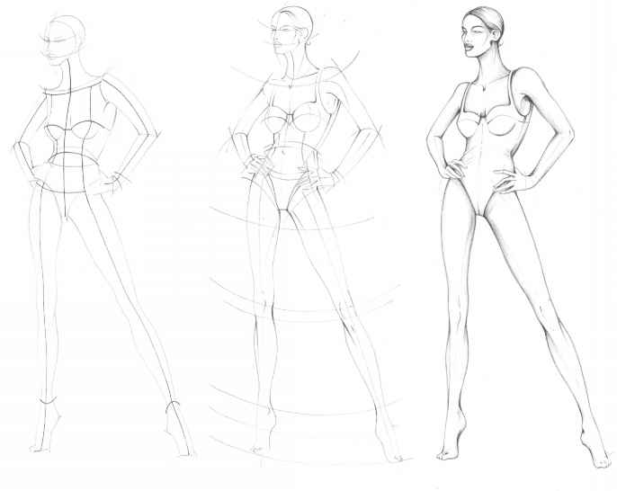 Line Drawing Female Body : The fashion plate figure drawing martel