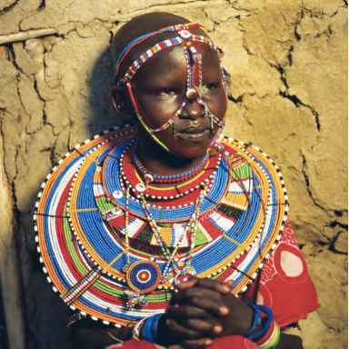 African Girl Beads And Face Jewelry